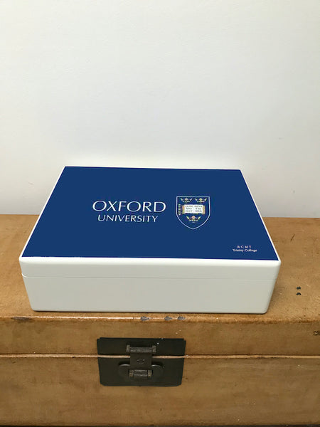 Personalised White University of Oxford Memory Box in Oxford  Blue for A4-sized papers and memorabilia