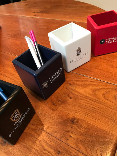 25 x Wooden Colour Pen Pot with Crest or Logo| White, Black, Blue or Red (from £11 per pot + VAT)