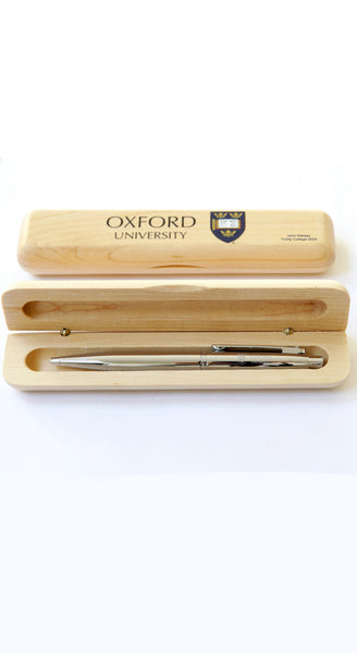 Personalised University of Oxford  maple pen case & engraved silver ball pen