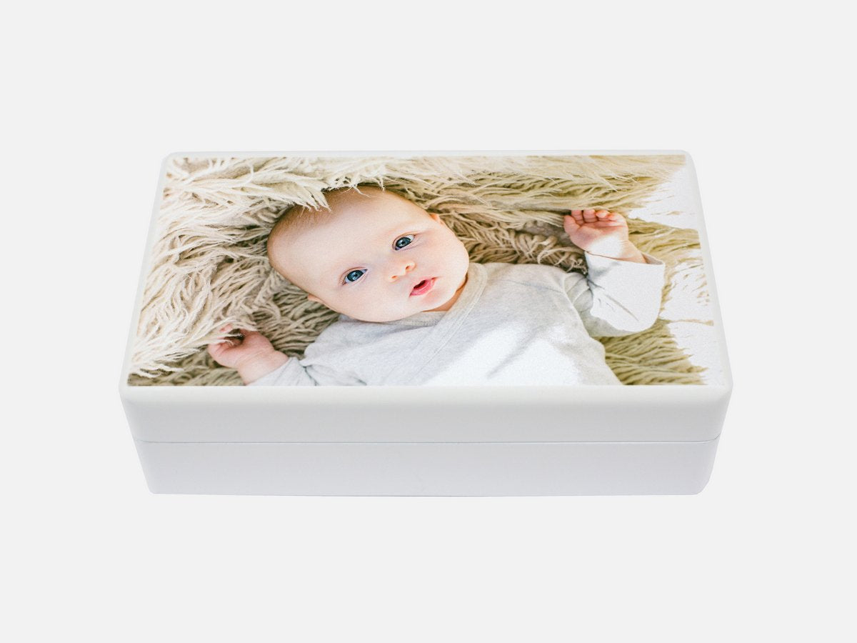 jewellery box white wooden baby photo
