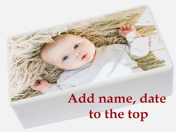 Personalised jewellery box white with name date