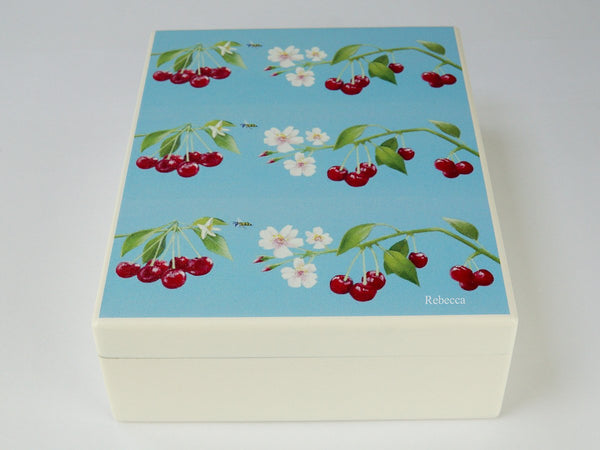 Personalised luxury wooden box file with cherries artwork