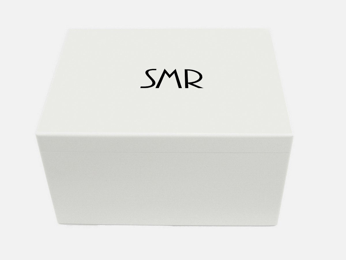 Keepsake box personalised white extra large with initials