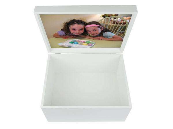 Keepsake box extra large white with your own photo inside