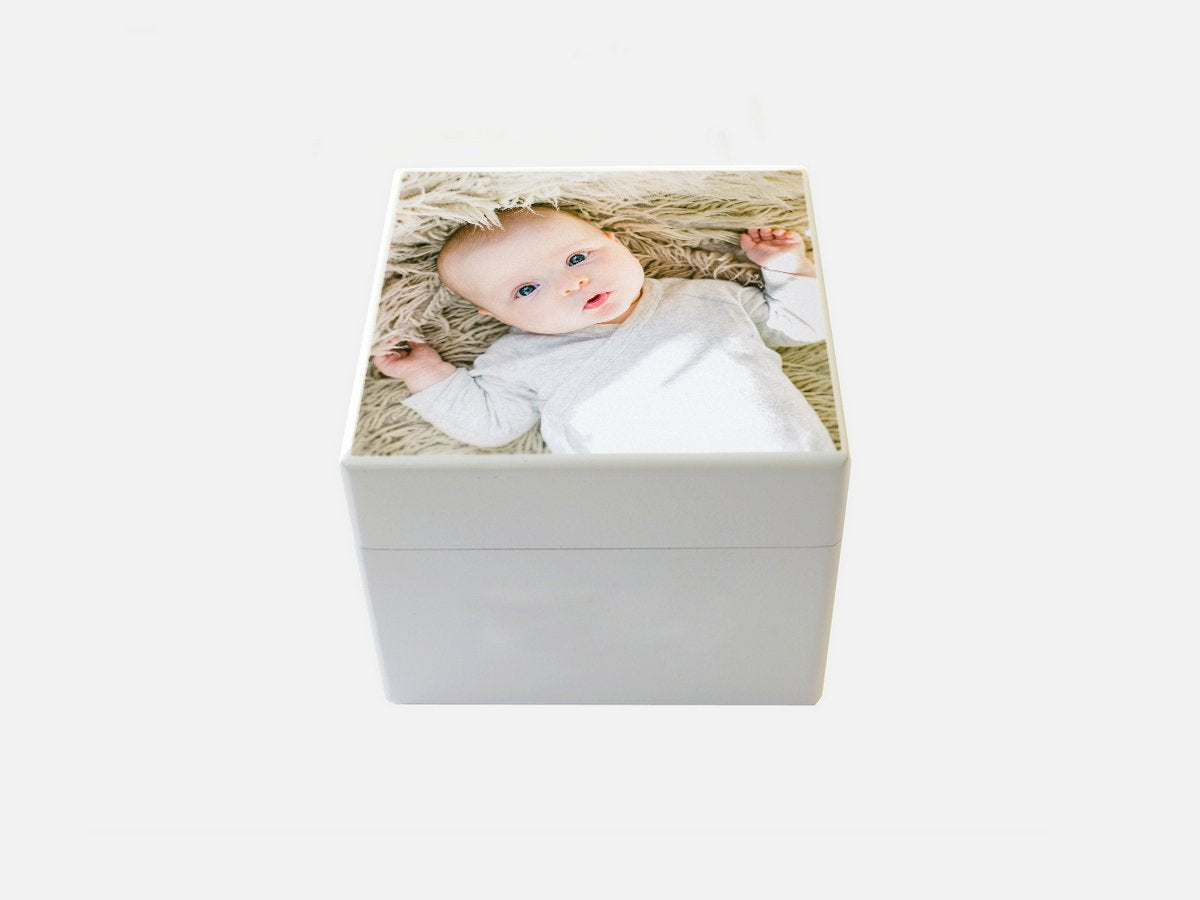 Small  Baby Keepsake white wooden box with your own photo(s) | Photo Box |12.5 x 12.5 x 10 cm