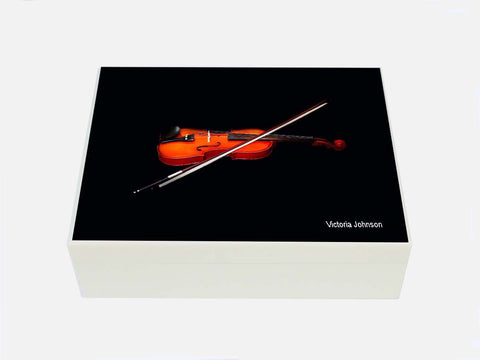 Personalised luxury box file with violin image