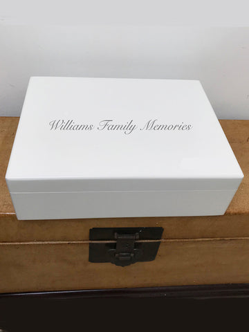 Your family name on Large A4 size white wooden box for family memories | Personalise with the family's name on top &  your photo on inside lid 335 x 260 x 100 mm