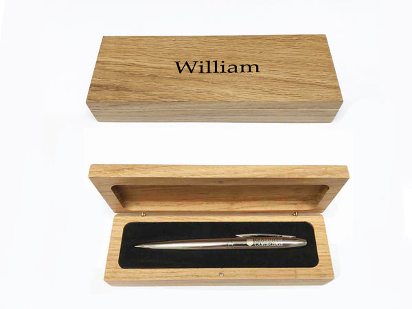 Luxury Personalised Oak Pen Case with your Name