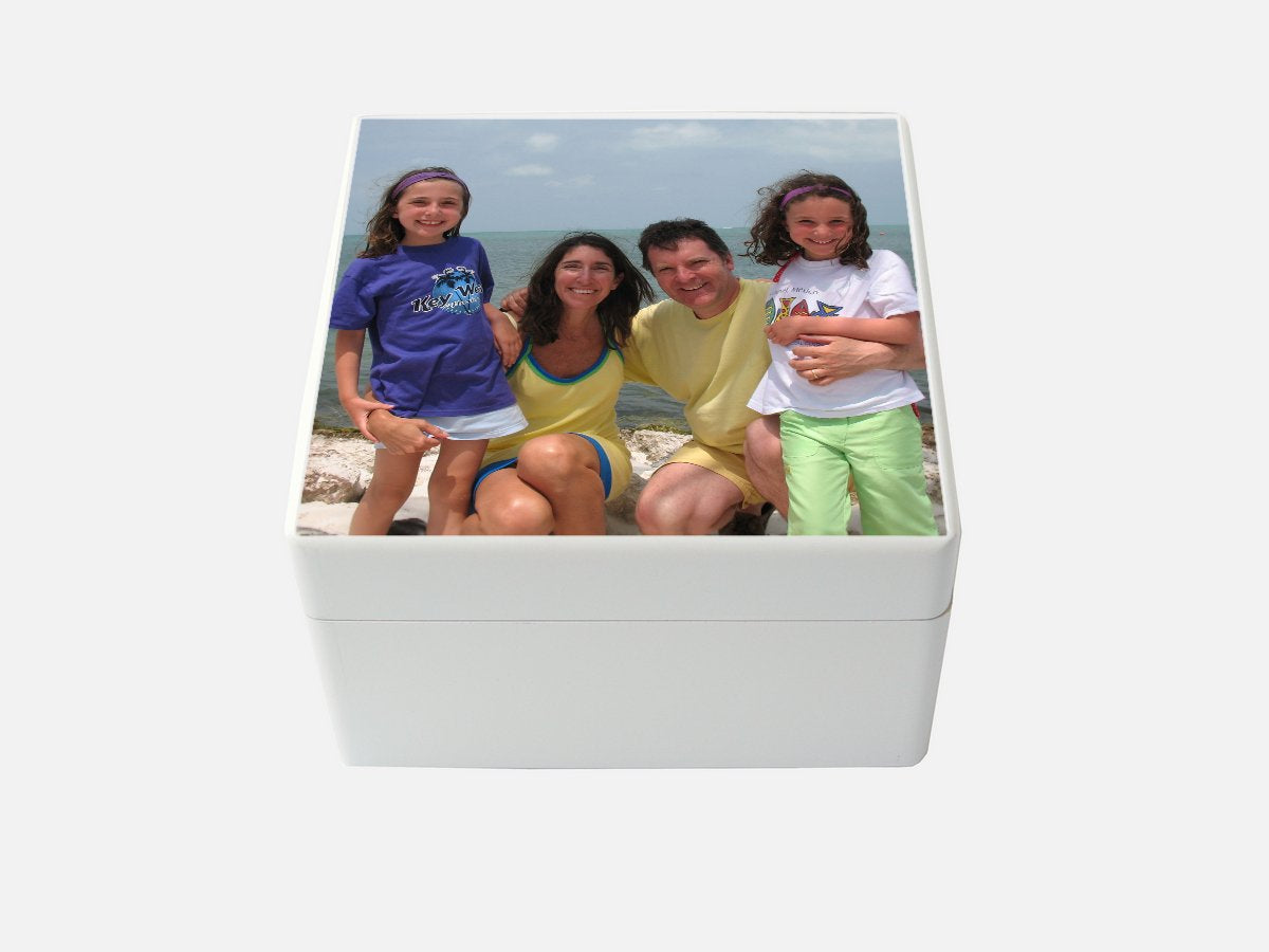 Medium Personalised Photo Box  | White Wooden Keepsake Memory Box |16 x 16 x 10 cm