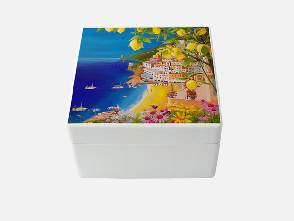 YOUR ARTWORK  on a Premium White Medium Square Wooden Gift Box  160 x 160 x 100 mm