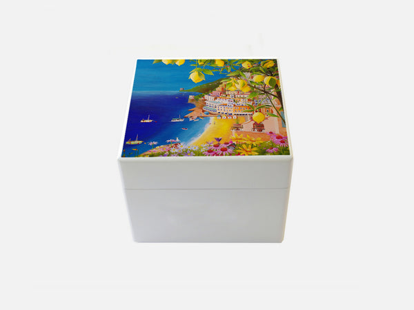 YOUR ARTWORK  on a Premium White Small  Square Wooden Gift Box 125 x 125 x 100 mm