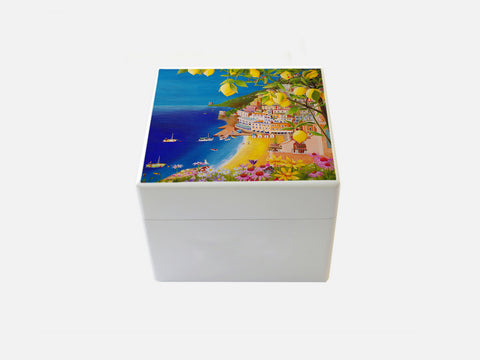 White Positano Small  Square Wooden Trinket Box