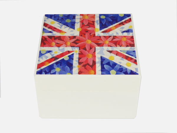 Union Jack Daisies artwork- Square wood box