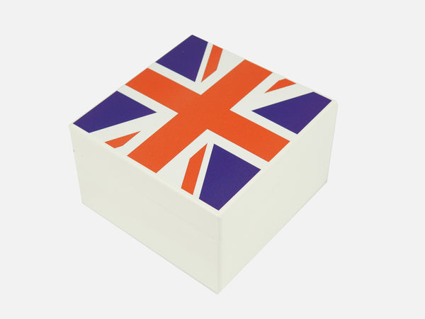 White Union Jack Square Wooden Gift Box