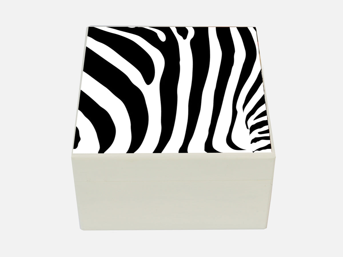 Zebra - Square wood box