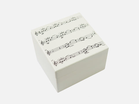 Music notes - Square wood box with your own photo on inside lid