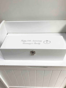 Anniversary personalised luxury white wooden wine gift box   | Personalise with name, text or message or quote| Choose font colour  350 x 110 x 100mm