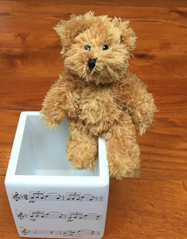 Teddy and a pen pot with music notes design