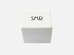Luxury White Wooden Small Gift Box with Photo on Inside lid  125 x 125 x 100 mm