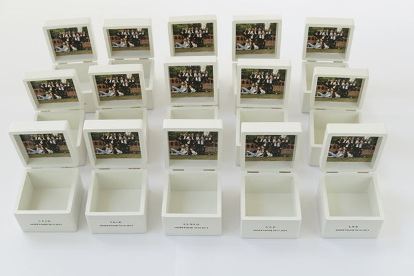 Personalised Small White School Trinket Box ( £21 per box + VAT each)
