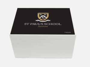Senior School logo - Personalised A4-sized St Paul's School Memory Wood box - A4 Chest - Black top
