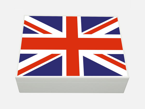 White Personalised Union Jack Wooden File for A4-sized papers, magazines, post 335 x 260 x 100 mm
