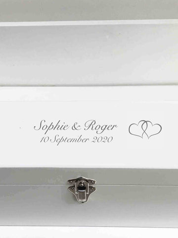 Wedding personalised luxury white wooden wine gift box | Personalise with names & date| Choose font colour