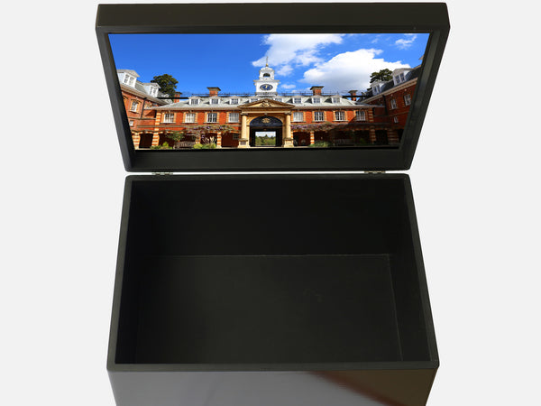 Wellington College School Memory Wood Box - A4 Chest - Black - Personalised