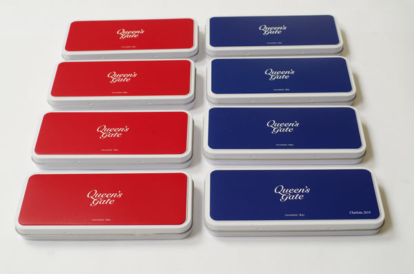 25 x Personalised White Metal Pencil Case | With Crest or Logo and Name