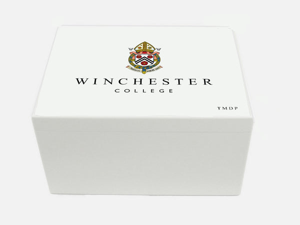 Winchester College School Memory Wood Box - A4 Chest - White - Personalised