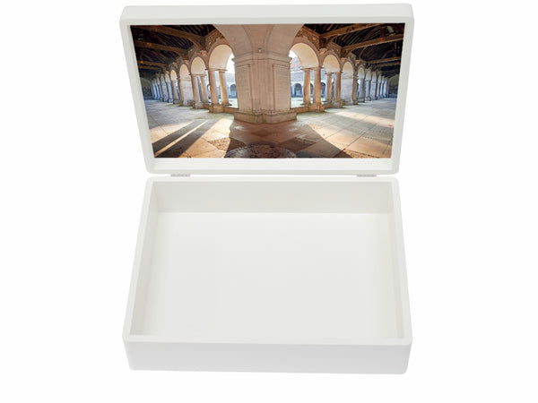 Winchester College School Memory Wood Box - A4 Box - White- Personalised