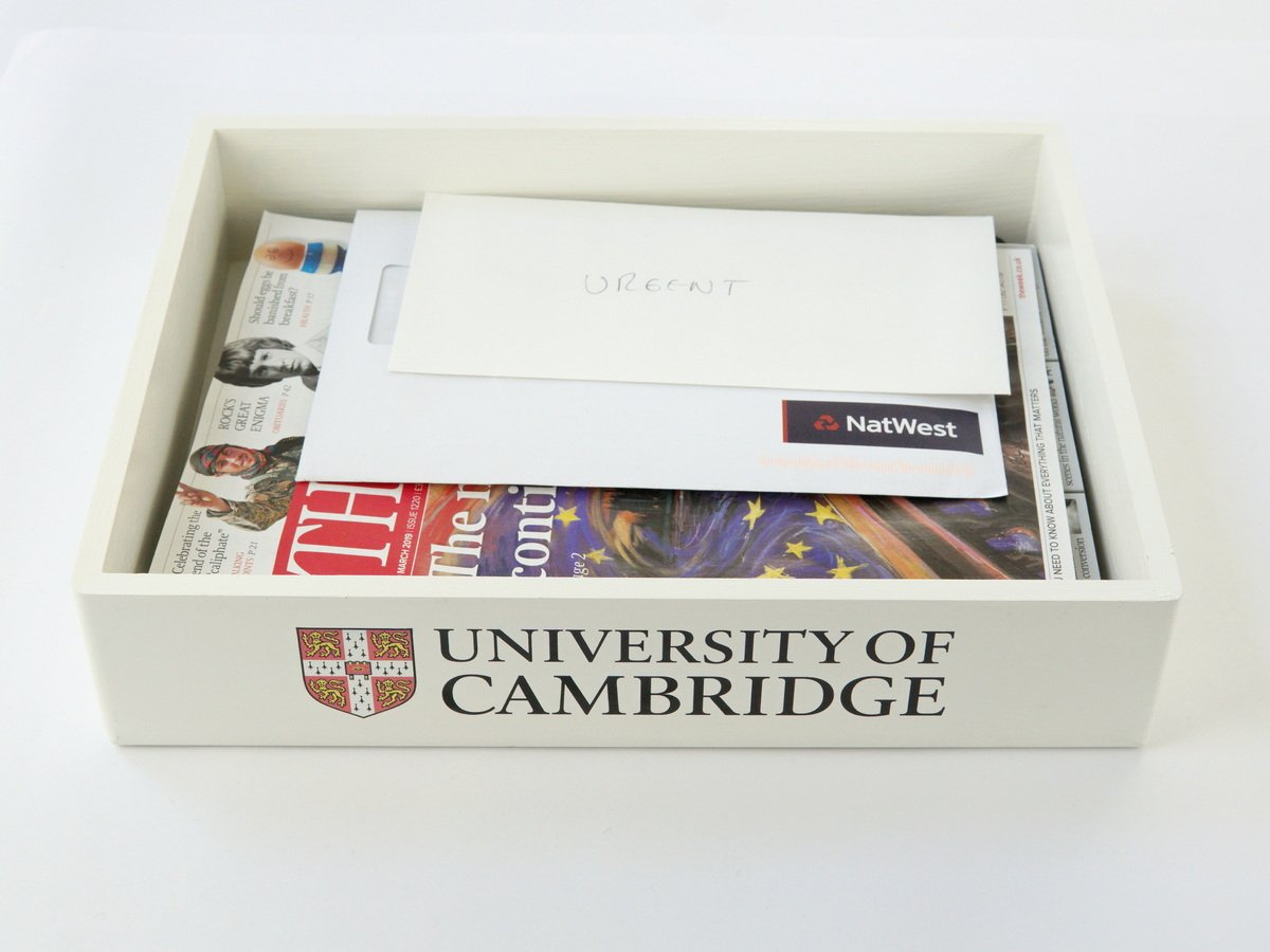 5 X White School Wooden In Tray with Logo or Crest (£10 per tray+ VAT)