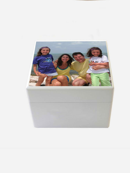 Small Personalised Photo Box | White Wooden Keepsake Memory Box  12.5 x 12.5 x 10 cm