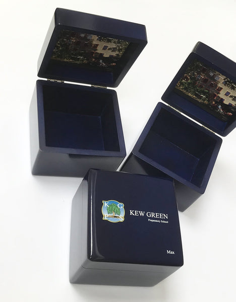 5 x Personalised Small Blue School Trinket Box (£21 per box + VAT )