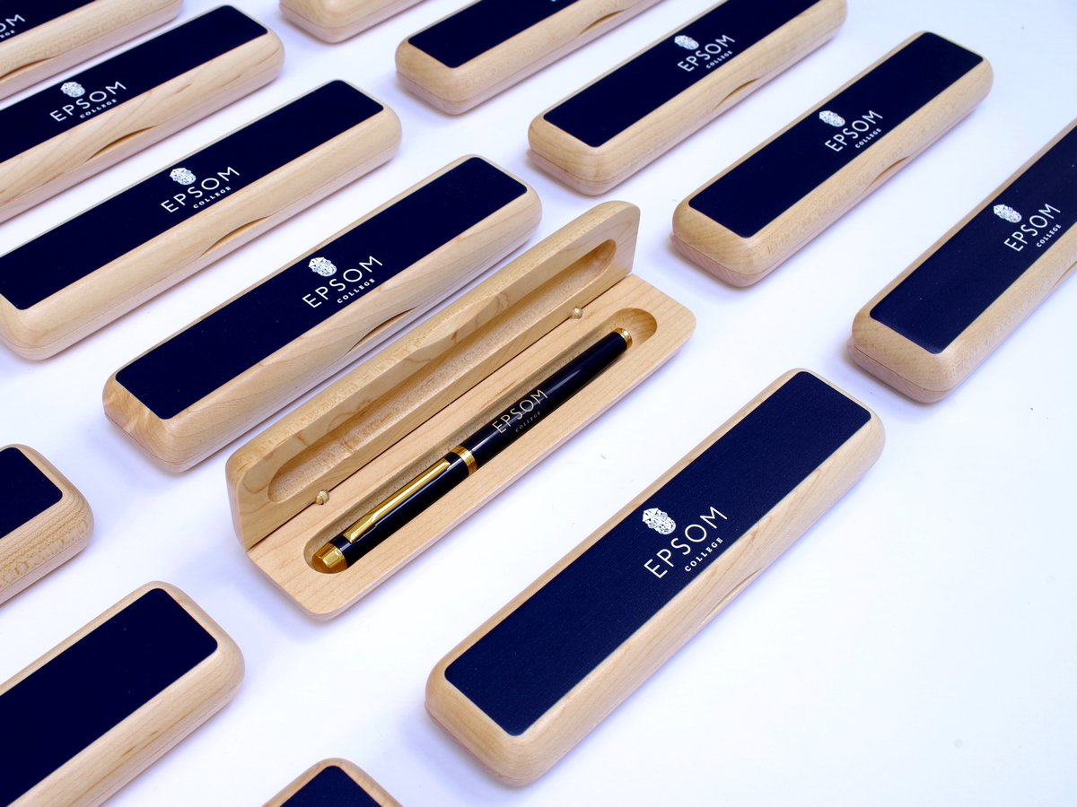 25 x Personalised School Maple Pen Case with Crest or Logo|Colour Top (from £7 per case + VAT)