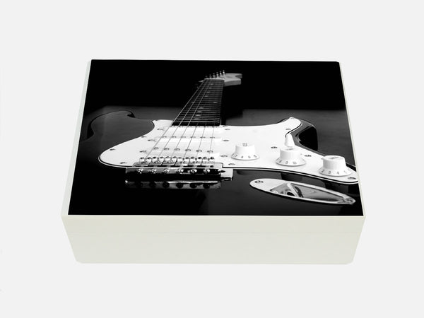 Luxury wooden box file with guitar image