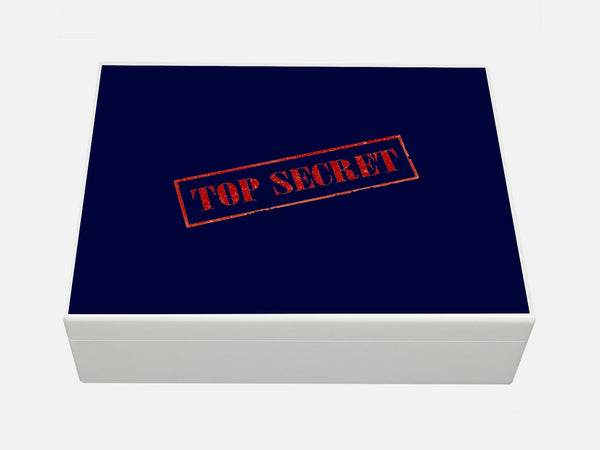 White Personalised Top Secret Wooden File Box for A4-sized papers, magazines, post 335 x 260 x 100 mm