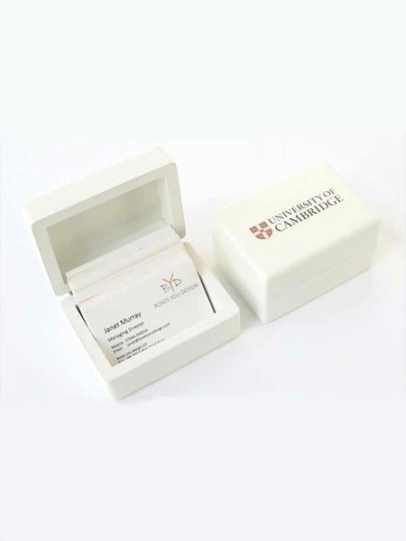 25 x White Luxury Wooden Business Card Holder Box (from £15 plus VAT) 106 x 76 x 50 mm