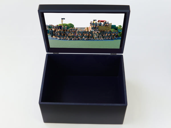 Extra Large Bute House School Memory Wood Box - Blue - Personalised