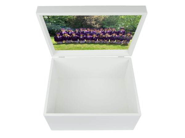 Glendower School Memory Wood Box - A4 Chest - Purple Top  with Border- Personalised