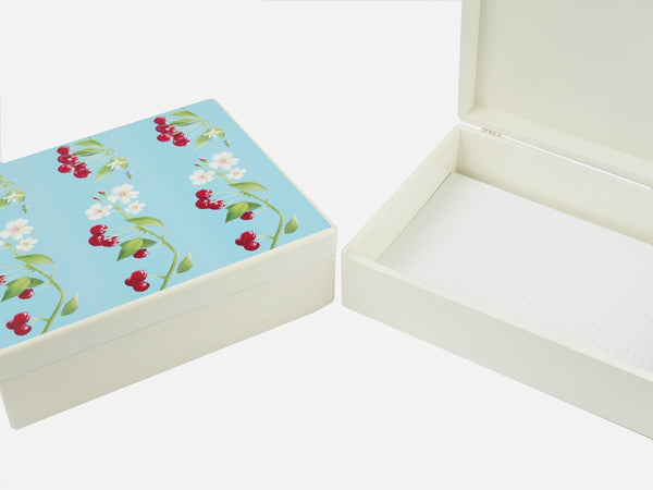 Decorative cherries wooden box file with A4 papers