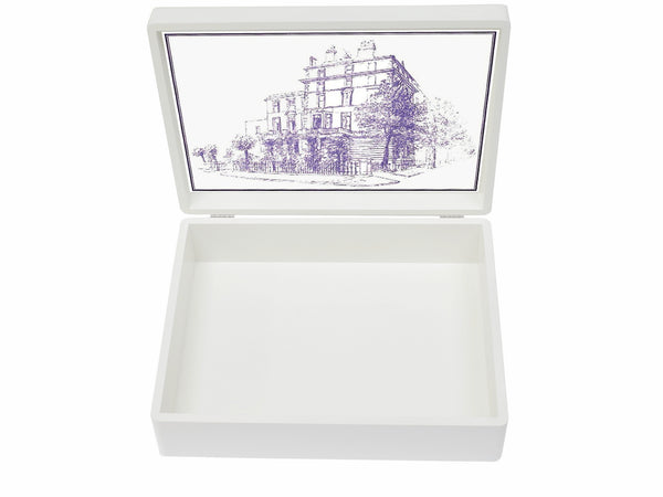 Glendower  School Memory Wood Box - A4 Box - Purple Top with Border - Personalised