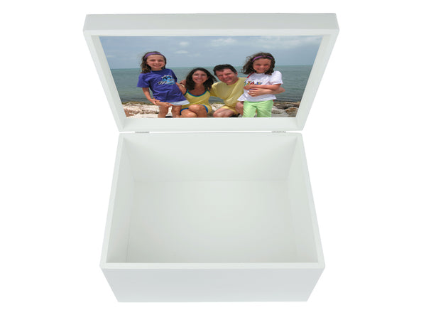 Your family name on Extra Large a4 size white wooden chest for family memories | Personalise with the family's name and your photo on the inside lid 335 x 260 x 180 mm