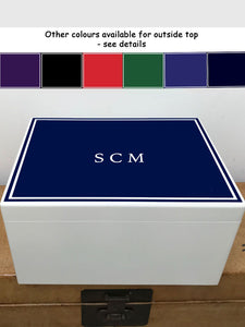 Extra Large a4 size colour top (6 colours available) white border white wooden chest  | Personalise with initials or a name and your photo on the inside lid 335 x 260 x 180 mm