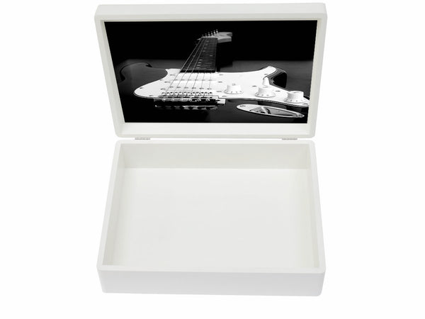 Luxury wooden box file with guitar image inside