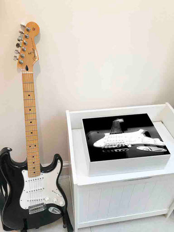 Large A4 size documents magazine wooden box file with guitar image| Personalise with a name 335 x 260 x 100 mm