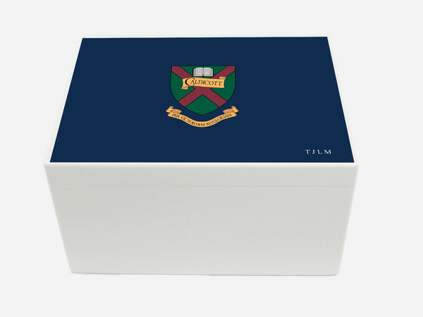 Caldicott School Memory Wood Box  - A4 Chest - Blue - Personalised