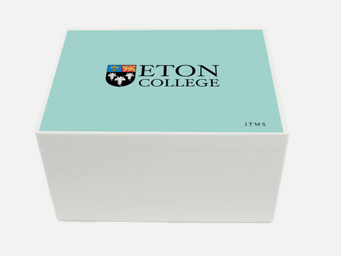 Personalised Eton College School Memory Wood Box - A4 Chest-  Eton Blue