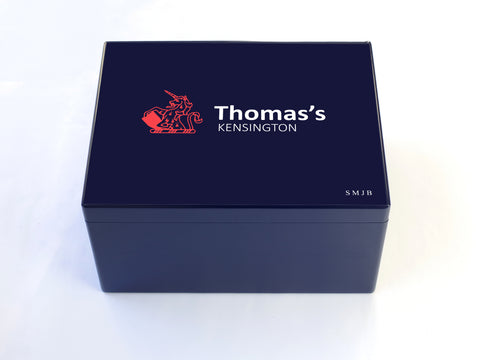 Thomas's Kensington School Memory Wood Box - A4 Chest - Blue - Personalised