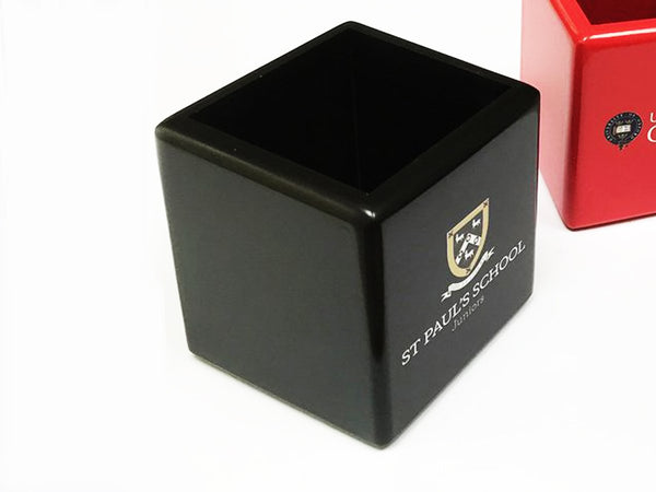 25 x School Wooden Pen Pot with Crest or Logo| White, Black, Blue or Red (from £10 per pot + VAT)